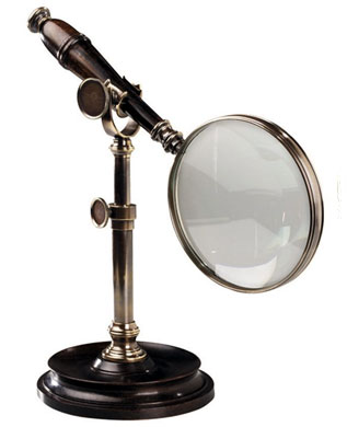 Bronze magnifying Glass on stand